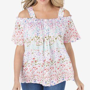 Woman Within Cold Shoulder Floral Blouse 2X 26/28